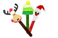 圣诞节在棍子的标志工艺 免版税库存图片