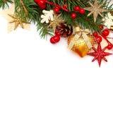 圣诞节在白色的背景边界 库存图片