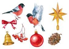 圣诞节在白色背景的装饰和红腹灰雀水彩 向量例证