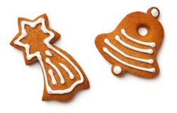 圣诞节在白色背景隔绝的姜饼曲奇饼 库存图片