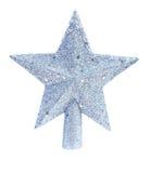 圣诞节在白色背景隔绝的杉树的玩具星 库存图片