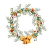 圣诞节在白色背景隔绝的花圈圆 免版税库存照片