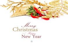 圣诞节在白色背景隔绝的边界装饰。Festiv 免版税库存照片
