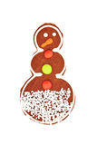 圣诞节在白色隔绝的姜饼曲奇饼 库存照片