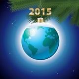 圣诞节在空间的球地球 免版税库存照片