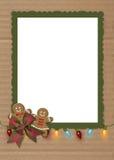 圣诞节在纸板的姜饼曲奇饼 库存照片