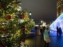 圣诞节在莫斯科,俄罗斯 在革命正方形的树装饰在晚上 免版税库存照片