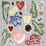 圣诞节在葡萄酒样式的色的贴纸 库存照片