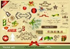 圣诞节在葡萄酒样式的设计要素 图库摄影
