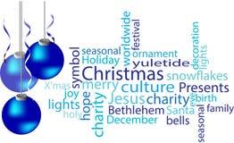 圣诞节在蓝色的词云彩 图库摄影