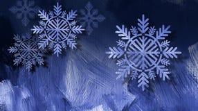 圣诞节在蓝色绘画的技巧背景的雪花装饰品 库存照片