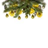 圣诞节在被隔绝的白色背景的杉树分支边界框架  免版税图库摄影