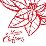 圣诞节在贺卡模板的字法书法对Xmas与红色手拉的一品红的前夕假日 库存照片