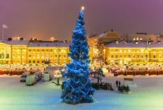 圣诞节在赫尔辛基,芬兰 免版税库存照片