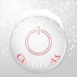 圣诞节在银色背景的力量按钮与反射 免版税图库摄影