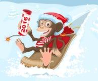 圣诞节在雪撬的猴子骑马和保留爆竹2016年 库存例证