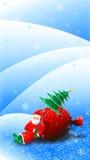 圣诞节在雪橇例证的圣诞老人骑马 免版税库存照片