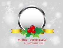圣诞节在雪花背景的框架设计 免版税图库摄影