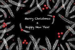 圣诞节在黑板的冷杉木分支 免版税库存图片