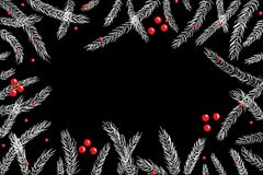 圣诞节在黑板的冷杉木分支 免版税图库摄影