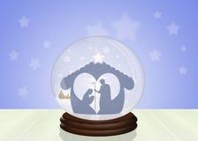 圣诞节在水晶球的诞生场面 库存图片