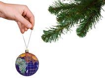 圣诞节地球现有量结构树 免版税图库摄影