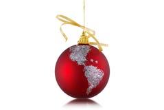 圣诞节地球装饰品 免版税库存图片
