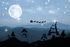 圣诞节场面剪影的综合图象 库存照片