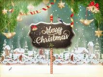 圣诞节场面,村庄 10 eps 库存照片