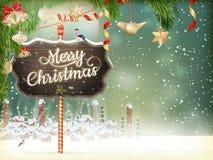 圣诞节场面,村庄 10 eps 库存例证