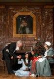 圣诞节场面维多利亚女王时代的著名人物 免版税图库摄影