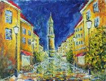 圣诞节城市神仙的拉脱维亚晚上地方上的短期相似的传说 黄色老大厦 舒适下房子晚上浪漫海星街道 点燃白色 雨 免版税库存照片
