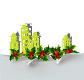 圣诞节城市背景由纸贴纸做成 免版税库存图片