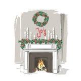 圣诞节壁炉传染媒介 图库摄影