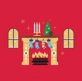 圣诞节壁炉红色背景传染媒介 图库摄影
