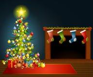 圣诞节壁炉结构树 免版税库存照片