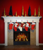 圣诞节壁炉 图库摄影