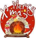 圣诞节壁炉 免版税库存照片