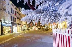 圣诞节多雪的树的特写镜头与有启发性街道的有的商店的在backgro的双方 免版税库存图片