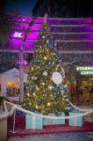 圣诞节多雪的结构树 库存图片