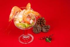 圣诞节大虾鸡尾酒 库存图片