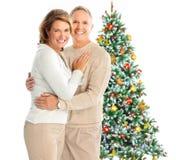 圣诞节夫妇年长的人 免版税库存图片