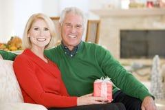 圣诞节夫妇成熟 免版税图库摄影