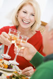 圣诞节夫妇正餐敬酒 免版税库存照片