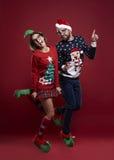 圣诞节夫妇 免版税库存照片