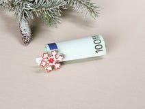 圣诞节奖金-与白色雪花的一百欧元 库存照片