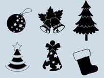 圣诞节套象汇集剪影 免版税库存图片