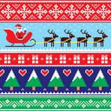 圣诞节套头衫或毛线衣无缝的样式与圣诞老人和驯鹿 免版税库存照片