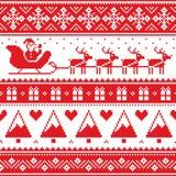 圣诞节套头衫或毛线衣无缝的红色样式与圣诞老人和驯鹿 免版税库存图片