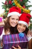 圣诞节女儿母亲 免版税库存照片